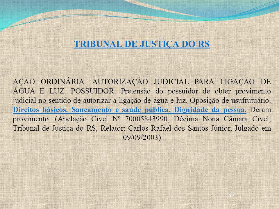 57 TRIBUNAL DE JUSTIÇA DO RS AÇÃO ORDINÁRIA. AUTORIZAÇÃO JUDICIAL PARA LIGAÇÃO DE ÁGUA E LUZ. POSSUIDOR. Pretensão do possuidor de obter provimento ju