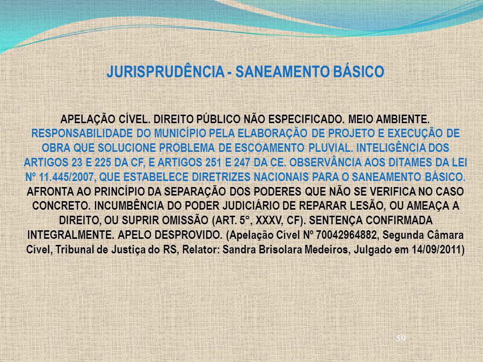 59 JURISPRUDÊNCIA - SANEAMENTO BÁSICO APELAÇÃO CÍVEL. DIREITO PÚBLICO NÃO ESPECIFICADO. MEIO AMBIENTE. RESPONSABILIDADE DO MUNICÍPIO PELA ELABORAÇÃO D