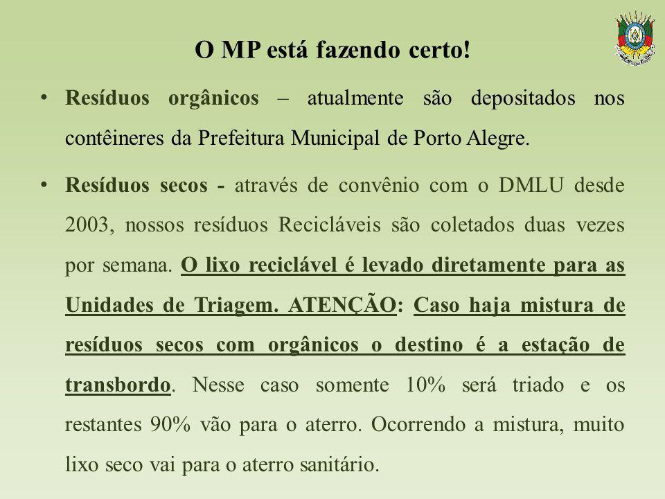 O MP está fazendo certo! Resíduos orgânicos – atualmente são depositados nos contêineres da Prefeitura Municipal de Porto Alegre. Resíduos secos - atr