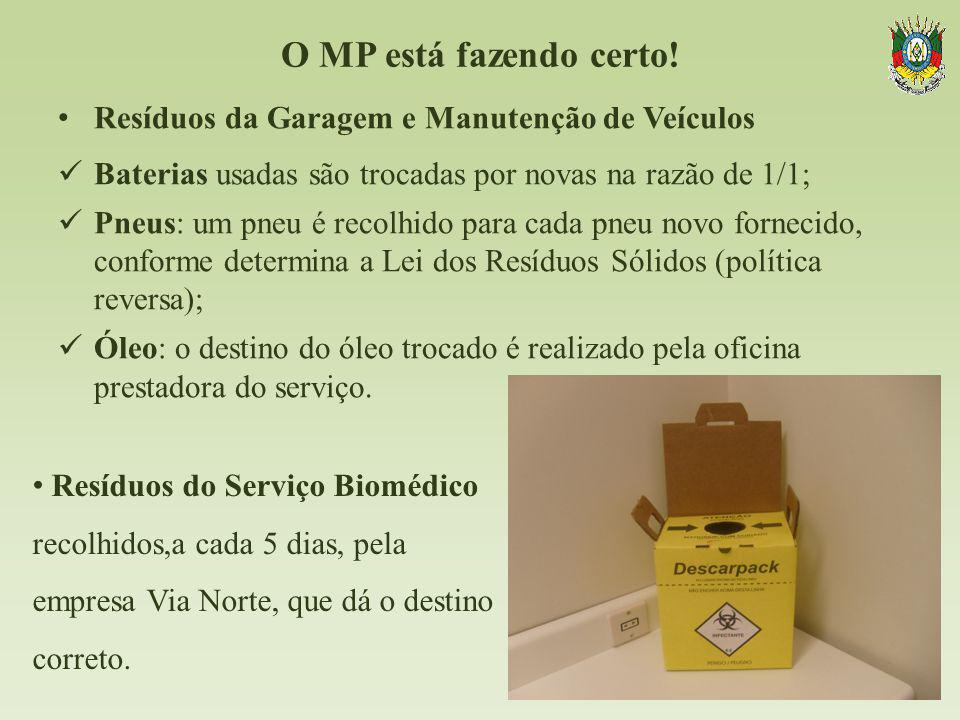 O MP está fazendo certo! Resíduos da Garagem e Manutenção de Veículos Baterias usadas são trocadas por novas na razão de 1/1; Pneus: um pneu é recolhi