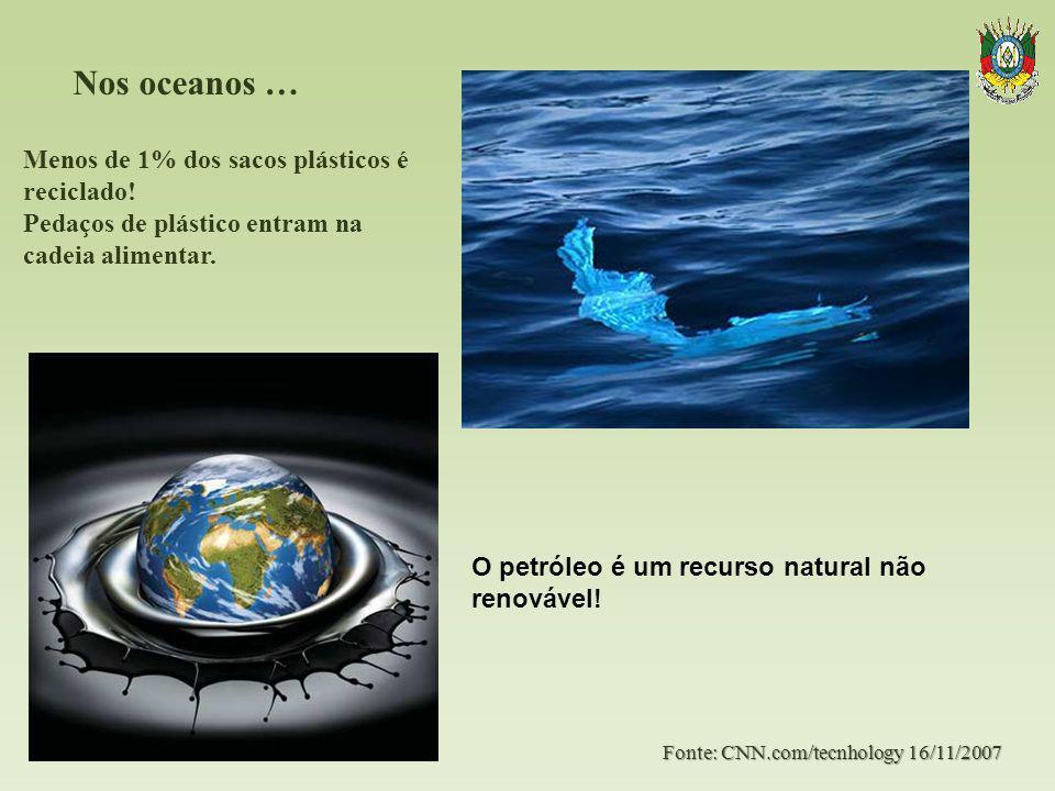 Nos oceanos …. Fonte: CNN.com/tecnhology 16/11/2007 Menos de 1% dos sacos plásticos é reciclado! Pedaços de plástico entram na cadeia alimentar. O pet