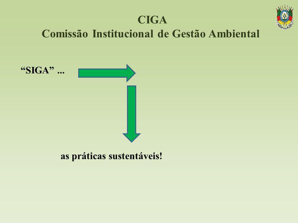 CIGA Comissão Institucional de Gestão Ambiental SIGA... as práticas sustentáveis!