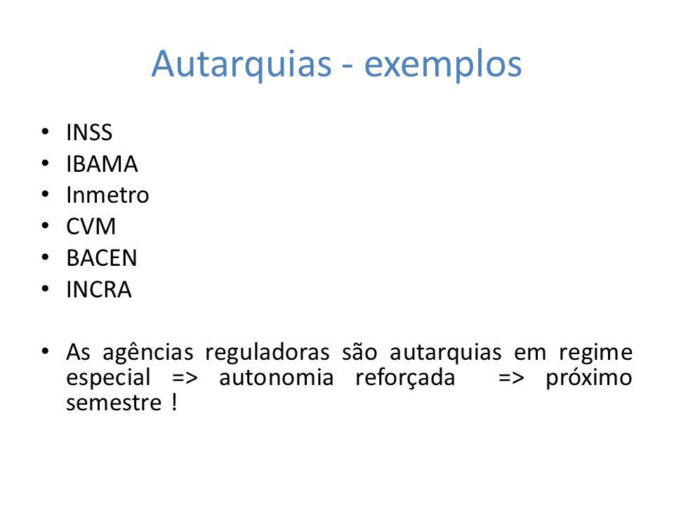 Autarquias - exemplos INSS IBAMA Inmetro CVM BACEN INCRA As agências reguladoras são autarquias em regime especial => autonomia reforçada => próximo s
