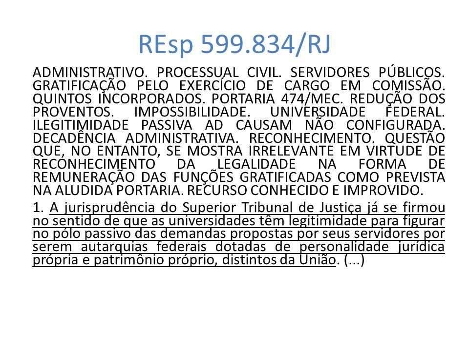 REsp 599.834/RJ ADMINISTRATIVO. PROCESSUAL CIVIL. SERVIDORES PÚBLICOS. GRATIFICAÇÃO PELO EXERCÍCIO DE CARGO EM COMISSÃO. QUINTOS INCORPORADOS. PORTARI