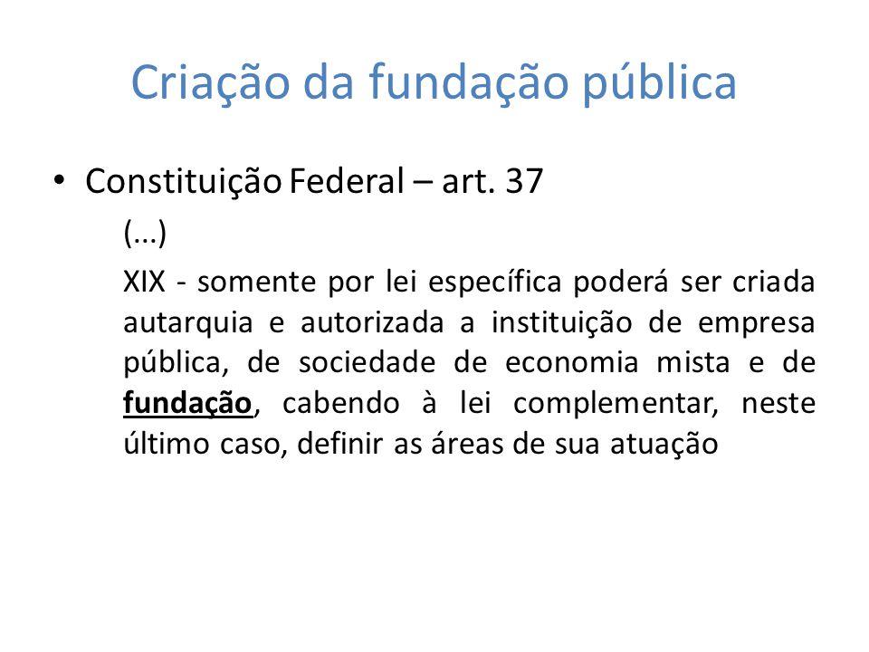 Criação da fundação pública Constituição Federal – art. 37 (...) XIX - somente por lei específica poderá ser criada autarquia e autorizada a instituiç