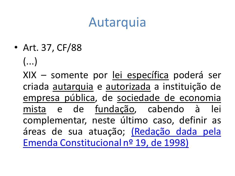 Autarquia Art. 37, CF/88 (...) XIX – somente por lei específica poderá ser criada autarquia e autorizada a instituição de empresa pública, de sociedad