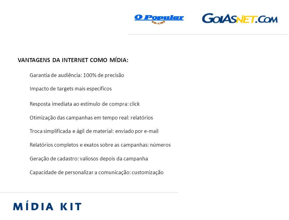 VANTAGENS DA INTERNET COMO MÍDIA: Garantia de audiência: 100% de precisão Impacto de targets mais específicos Resposta imediata ao estímulo de compra: