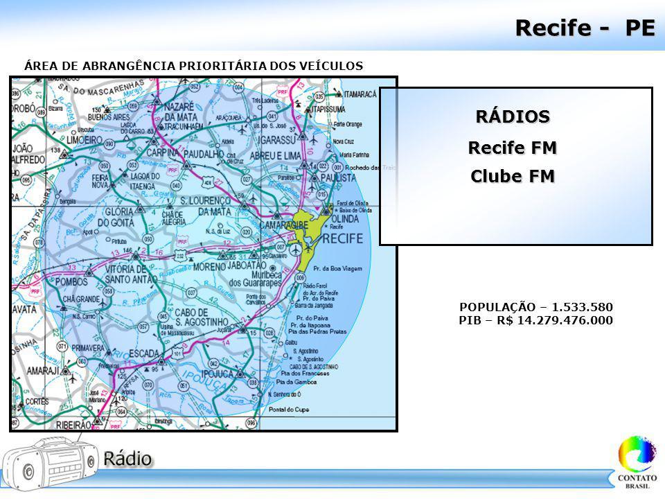 Recife - PE ÁREA DE ABRANGÊNCIA PRIORITÁRIA DOS VEÍCULOS POPULAÇÃO – 1.533.580 PIB – R$ 14.279.476.000 RÁDIOS Recife FM Clube FM