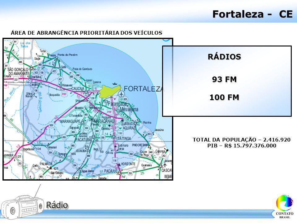 Fortaleza - CE TOTAL DA POPULAÇÃO – 2.416.920 PIB – R$ 15.797.376.000 ÁREA DE ABRANGÊNCIA PRIORITÁRIA DOS VEÍCULOS RÁDIOS 93 FM 100 FM