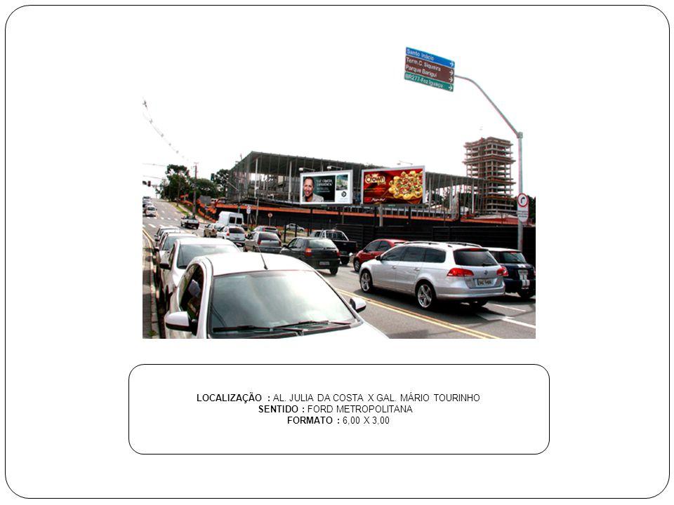 LOCALIZAÇÃO : AL. JULIA DA COSTA X GAL. MÁRIO TOURINHO SENTIDO : FORD METROPOLITANA FORMATO : 6,00 X 3,00
