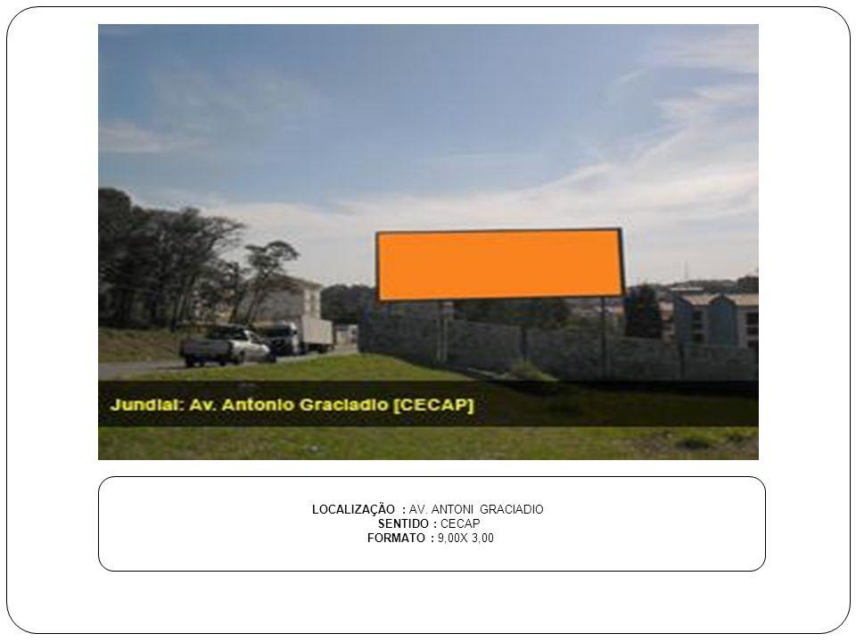 LOCALIZAÇÃO : AV. ANTONI GRACIADIO SENTIDO : CECAP FORMATO : 9,00X 3,00