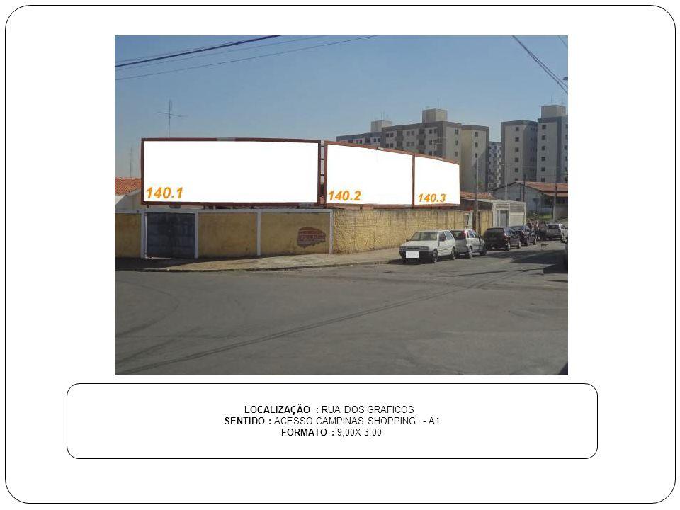LOCALIZAÇÃO : RUA DOS GRAFICOS SENTIDO : ACESSO CAMPINAS SHOPPING - A1 FORMATO : 9,00X 3,00