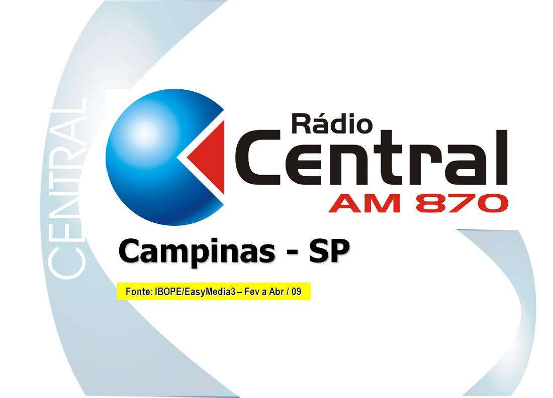 Rádio Central AM A Rádio Central AM caminha para os seus 27 anos tendo números consolidados em todas as pesquisas de audiência, o que lhe confere liderança absoluta e uniforme, nos últimos 13 anos, em toda a Região de Campinas.