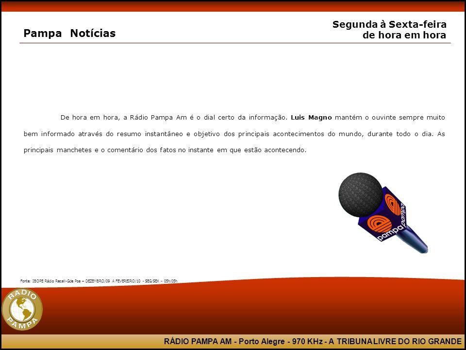 RÁDIO PAMPA AM - Porto Alegre - 970 KHz - A TRIBUNA LIVRE DO RIO GRANDE Pampa Notícias Segunda à Sexta-feira de hora em hora De hora em hora, a Rádio