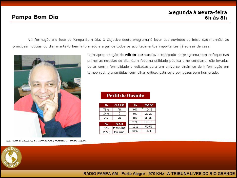 RÁDIO PAMPA AM - Porto Alegre - 970 KHz - A TRIBUNA LIVRE DO RIO GRANDE Pampa Bom Dia Segunda à Sexta-feira 6h às 8h A Informação é o foco do Pampa Bo