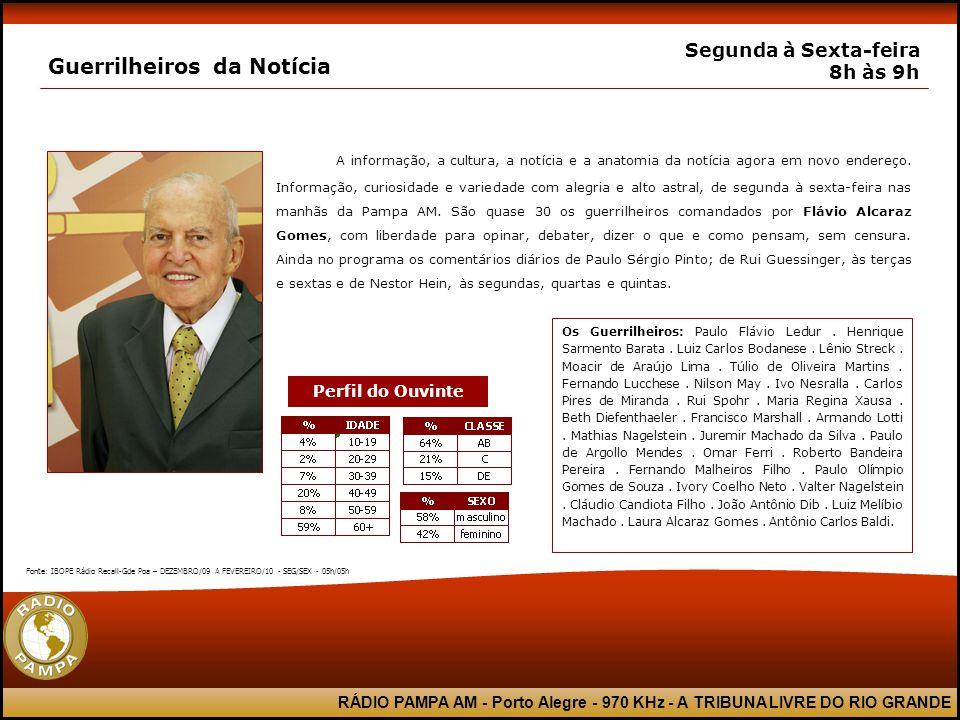 RÁDIO PAMPA AM - Porto Alegre - 970 KHz - A TRIBUNA LIVRE DO RIO GRANDE Guerrilheiros da Notícia Segunda à Sexta-feira 8h às 9h A informação, a cultur