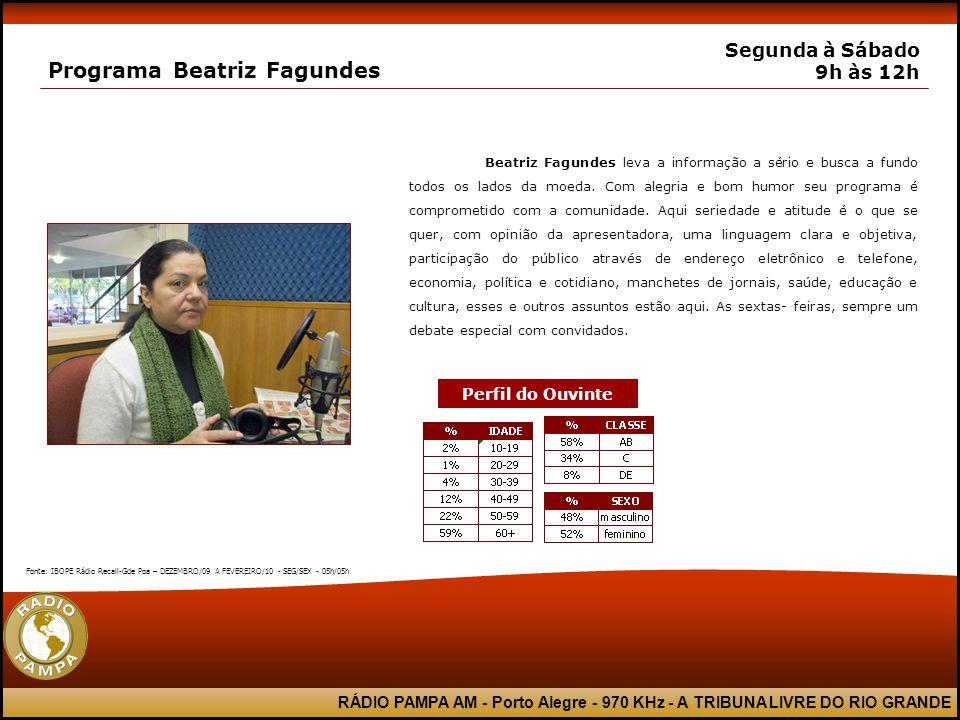 RÁDIO PAMPA AM - Porto Alegre - 970 KHz - A TRIBUNA LIVRE DO RIO GRANDE Programa Beatriz Fagundes Segunda à Sábado 9h às 12h Beatriz Fagundes leva a i