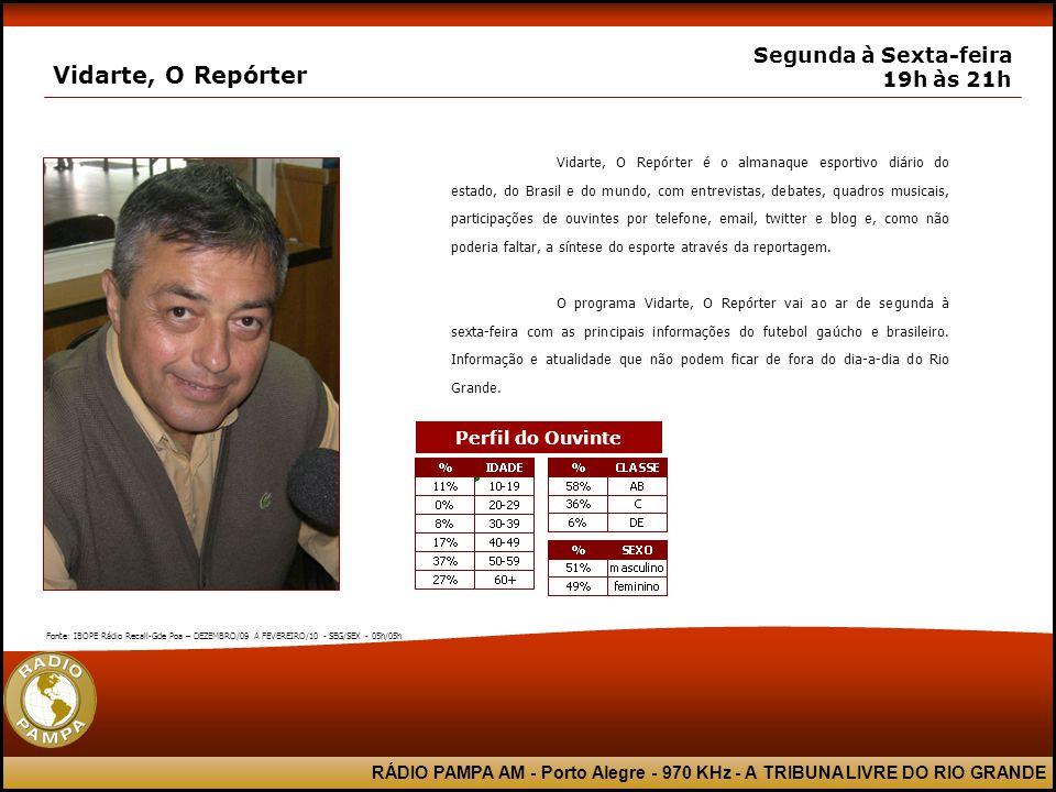 RÁDIO PAMPA AM - Porto Alegre - 970 KHz - A TRIBUNA LIVRE DO RIO GRANDE Vidarte, O Repórter Segunda à Sexta-feira 19h às 21h Vidarte, O Repórter é o a