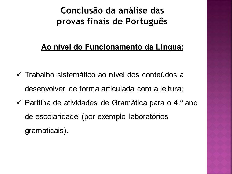 Conclusão da análise das provas finais de Português Ao nível do Funcionamento da Língua: Trabalho sistemático ao nível dos conteúdos a desenvolver de forma articulada com a leitura; Partilha de atividades de Gramática para o 4.º ano de escolaridade (por exemplo laboratórios gramaticais).