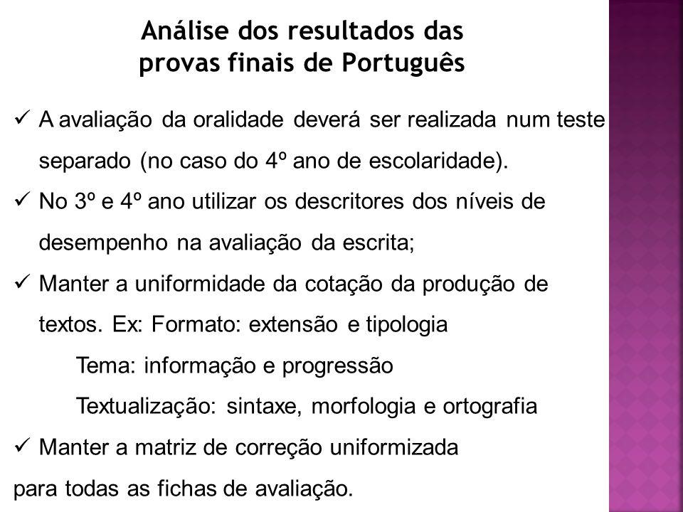 Análise dos resultados das provas finais de Português A avaliação da oralidade deverá ser realizada num teste separado (no caso do 4º ano de escolaridade).