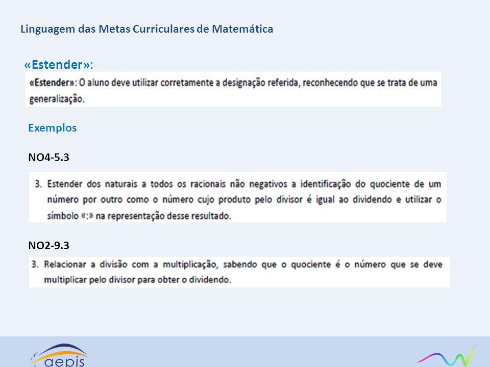 «Estender»: Exemplos NO4-5.3 NO2-9.3 Linguagem das Metas Curriculares de Matemática