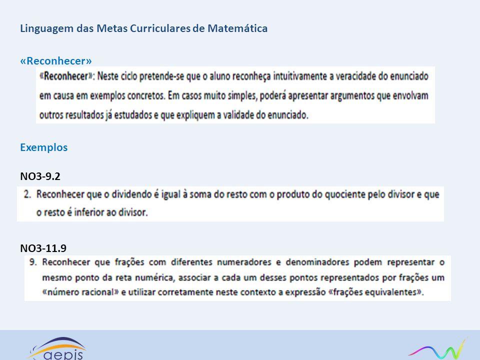 «Reconhecer» Exemplos NO3-9.2 NO3-11.9 Linguagem das Metas Curriculares de Matemática
