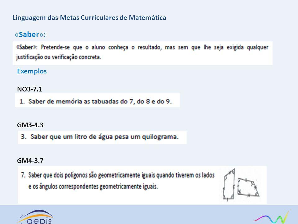 «Saber»: Exemplos NO3-7.1 GM3-4.3 GM4-3.7 Linguagem das Metas Curriculares de Matemática