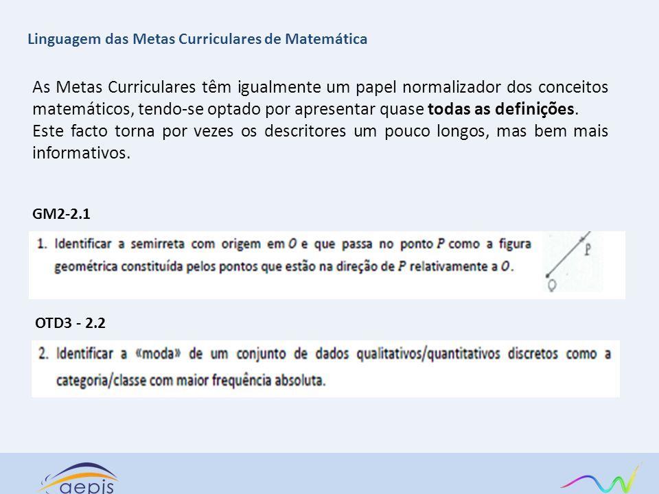 As Metas Curriculares têm igualmente um papel normalizador dos conceitos matemáticos, tendo-se optado por apresentar quase todas as definições. Este f