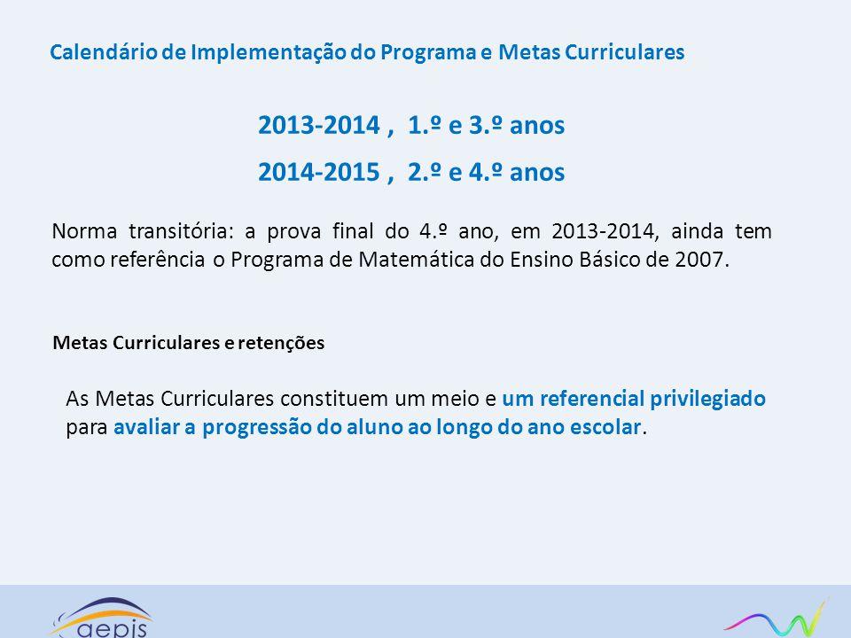 Calendário de Implementação do Programa e Metas Curriculares 2013-2014, 1.º e 3.º anos 2014-2015, 2.º e 4.º anos Norma transitória: a prova final do 4