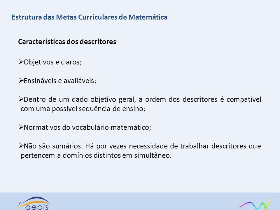 Características dos descritores Objetivos e claros; Ensináveis e avaliáveis; Dentro de um dado objetivo geral, a ordem dos descritores é compatível co
