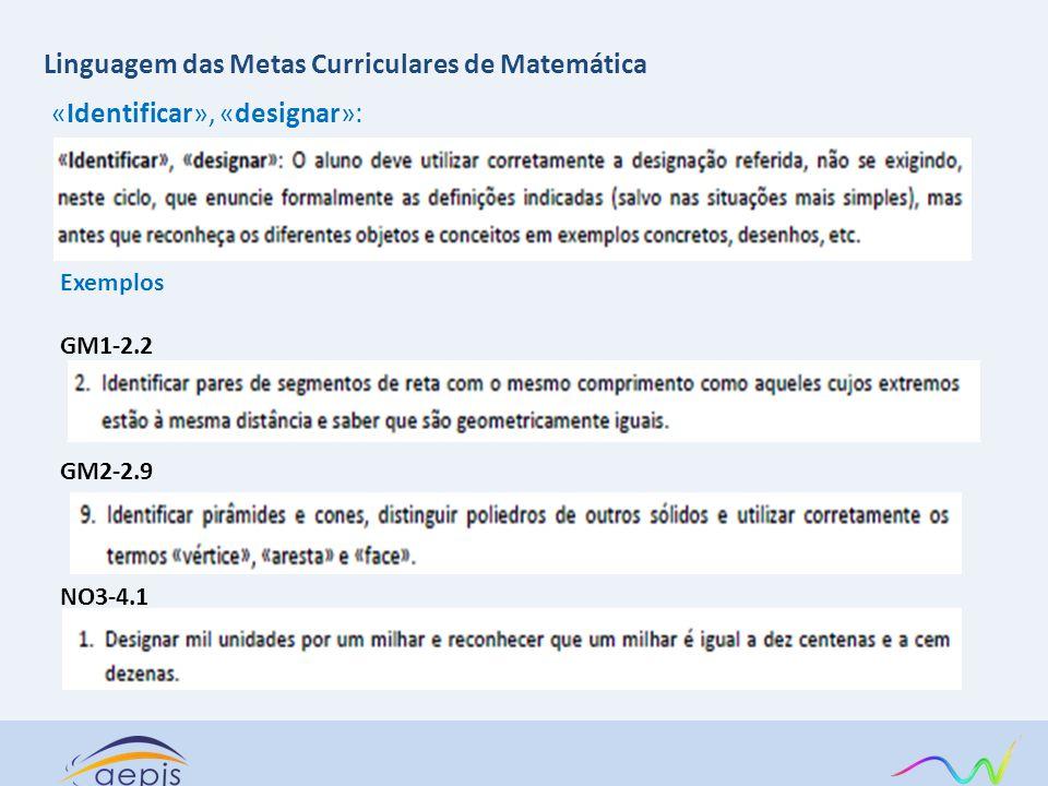 «Identificar», «designar»: Exemplos GM1-2.2 GM2-2.9 NO3-4.1 Linguagem das Metas Curriculares de Matemática