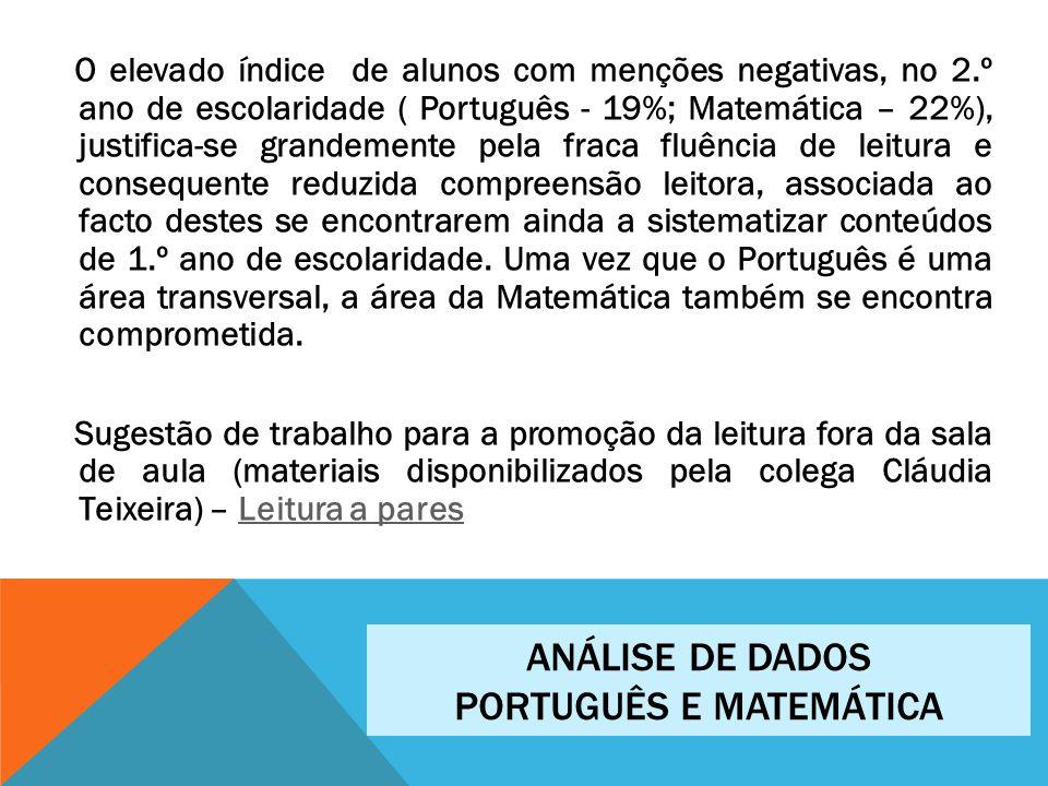 O elevado índice de alunos com menções negativas, no 2.º ano de escolaridade ( Português - 19%; Matemática – 22%), justifica-se grandemente pela fraca