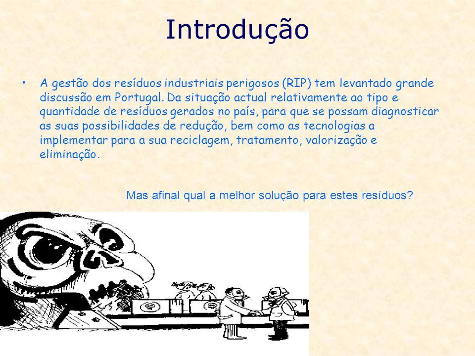 Introdução A gestão dos resíduos industriais perigosos (RIP) tem levantado grande discussão em Portugal. Da situação actual relativamente ao tipo e qu