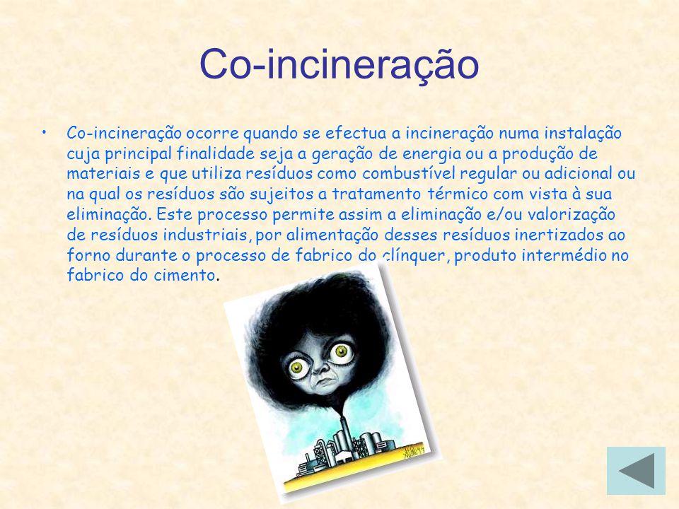 Co-incineração Co-incineração ocorre quando se efectua a incineração numa instalação cuja principal finalidade seja a geração de energia ou a produção