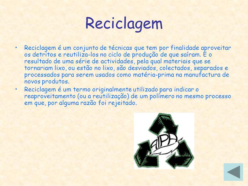 Reciclagem Reciclagem é um conjunto de técnicas que tem por finalidade aproveitar os detritos e reutiliza-los no ciclo de produção de que saíram. E o