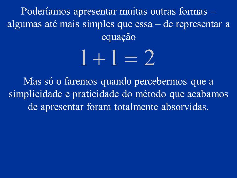 Poderíamos apresentar muitas outras formas – algumas até mais simples que essa – de representar a equação Mas só o faremos quando percebermos que a si