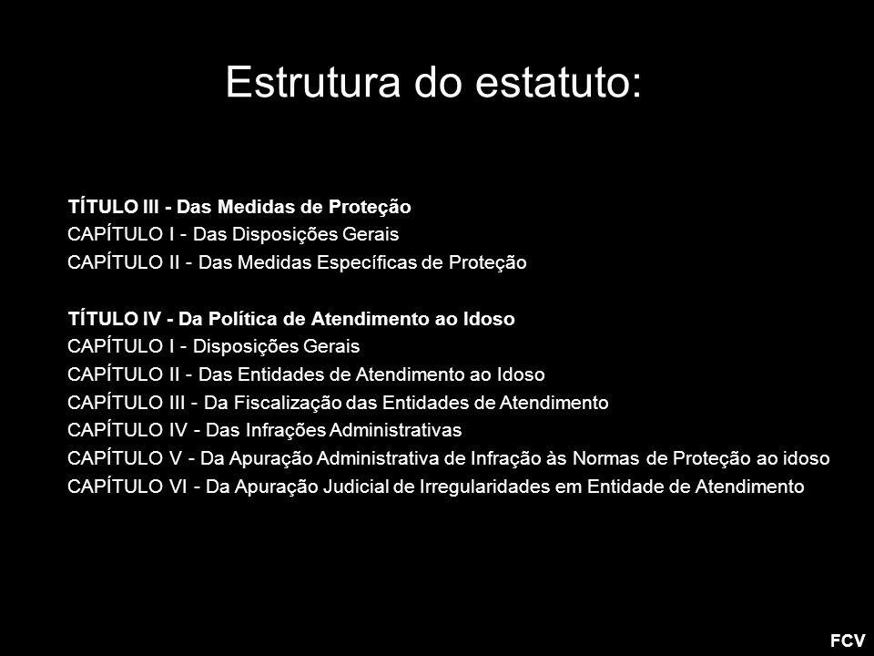 Estrutura do estatuto: TÍTULO III - Das Medidas de Proteção CAPÍTULO I - Das Disposições Gerais CAPÍTULO II - Das Medidas Específicas de Proteção TÍTU