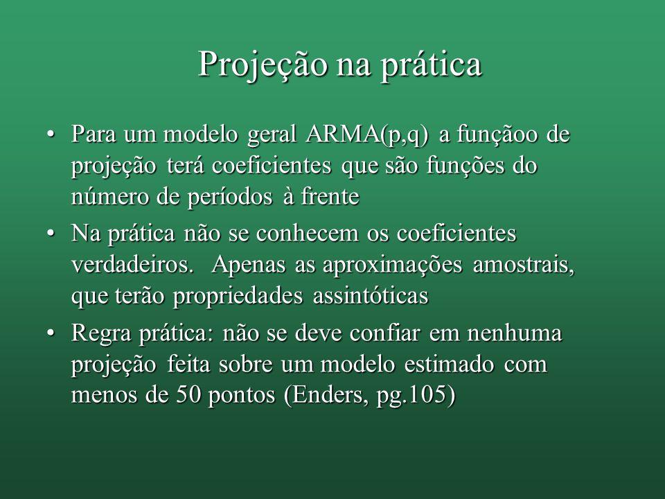 Projeção na prática Para um modelo geral ARMA(p,q) a funçãoo de projeção terá coeficientes que são funções do número de períodos à frentePara um model