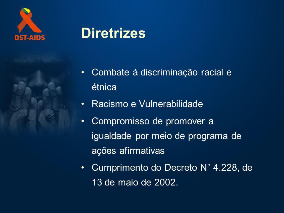 Diretrizes Combate à discriminação racial e étnica Racismo e Vulnerabilidade Compromisso de promover a igualdade por meio de programa de ações afirmativas Cumprimento do Decreto N° 4.228, de 13 de maio de 2002.