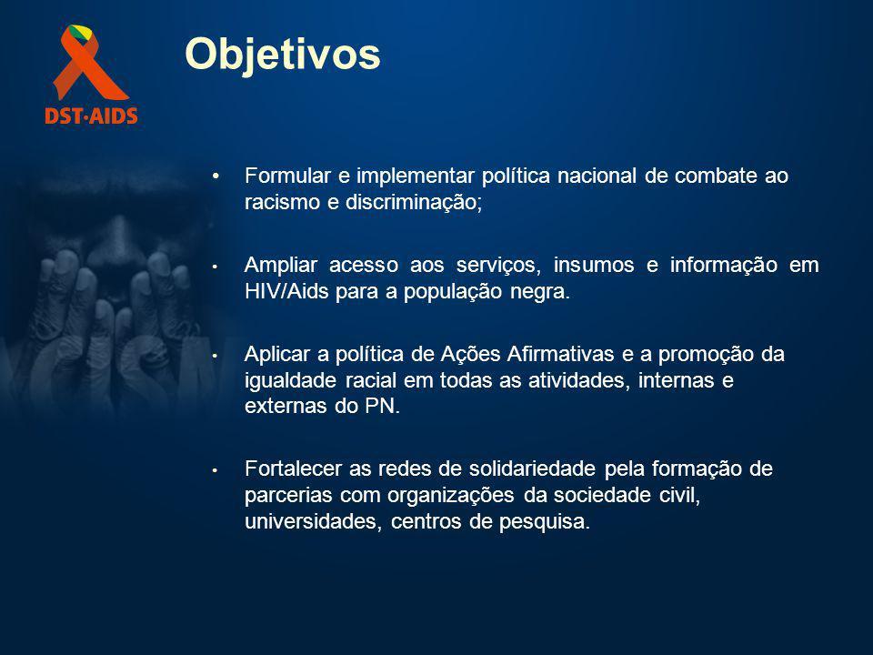 Objetivos Formular e implementar política nacional de combate ao racismo e discriminação; Ampliar acesso aos serviços, insumos e informação em HIV/Aid