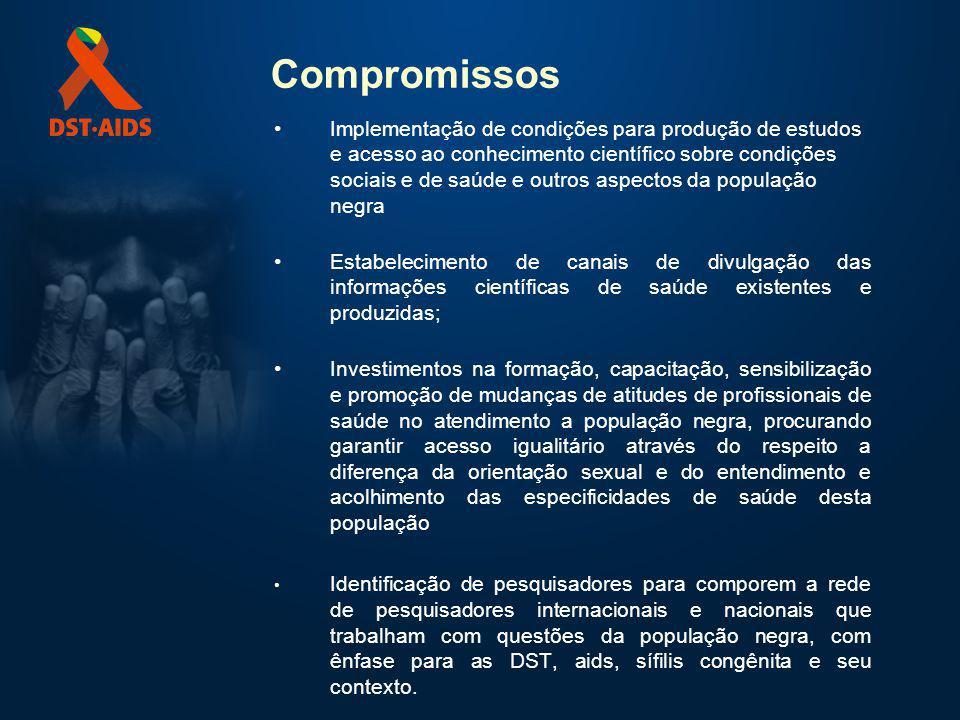 Compromissos Implementação de condições para produção de estudos e acesso ao conhecimento científico sobre condições sociais e de saúde e outros aspec