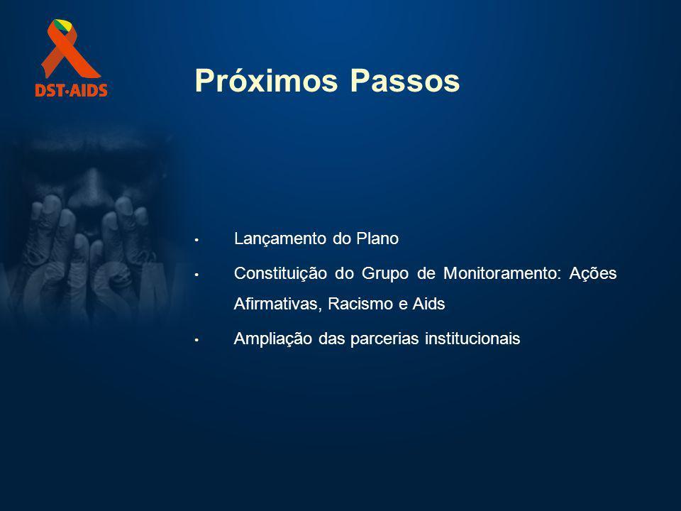 Próximos Passos Lançamento do Plano Constituição do Grupo de Monitoramento: Ações Afirmativas, Racismo e Aids Ampliação das parcerias institucionais