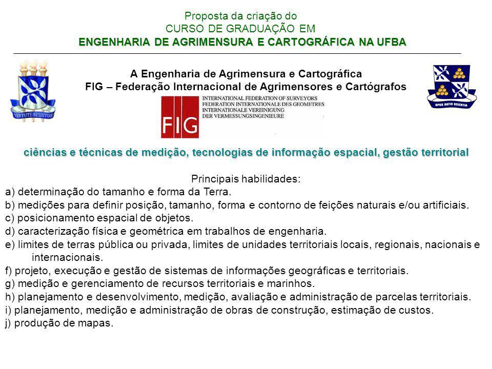 ENGENHARIA DE AGRIMENSURA E CARTOGRÁFICA NA UFBA Proposta da criação do CURSO DE GRADUAÇÃO EM ENGENHARIA DE AGRIMENSURA E CARTOGRÁFICA NA UFBA A Engen