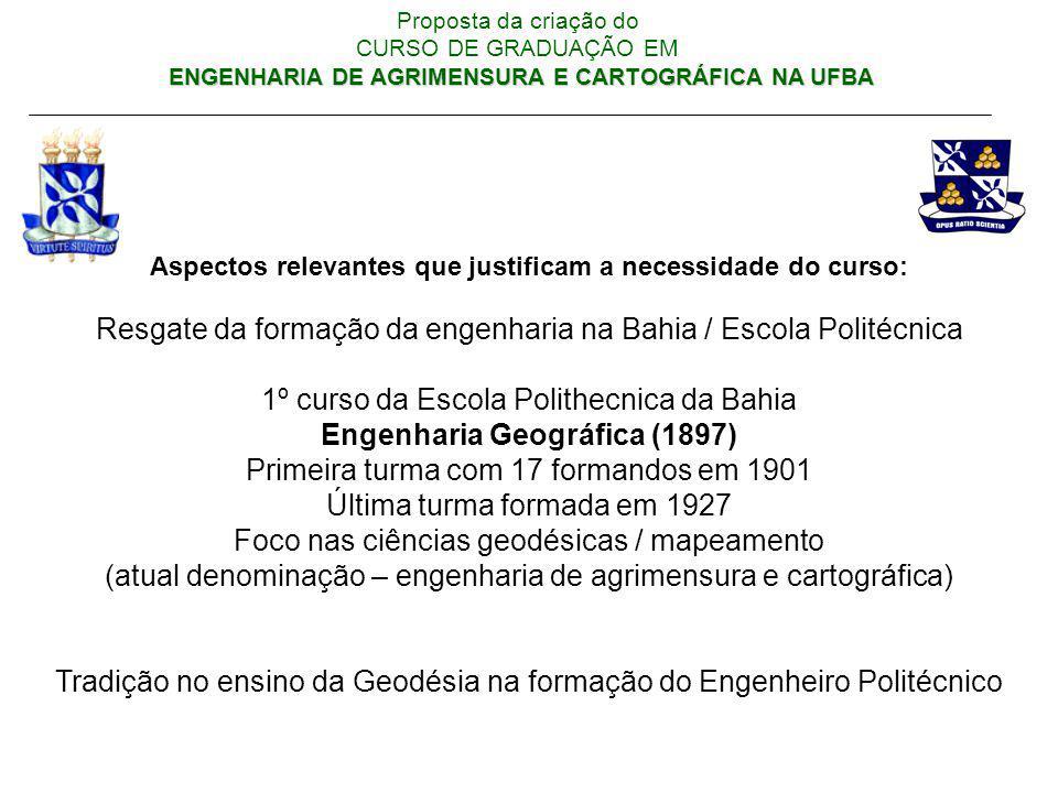 ENGENHARIA DE AGRIMENSURA E CARTOGRÁFICA NA UFBA Proposta da criação do CURSO DE GRADUAÇÃO EM ENGENHARIA DE AGRIMENSURA E CARTOGRÁFICA NA UFBA Aspecto