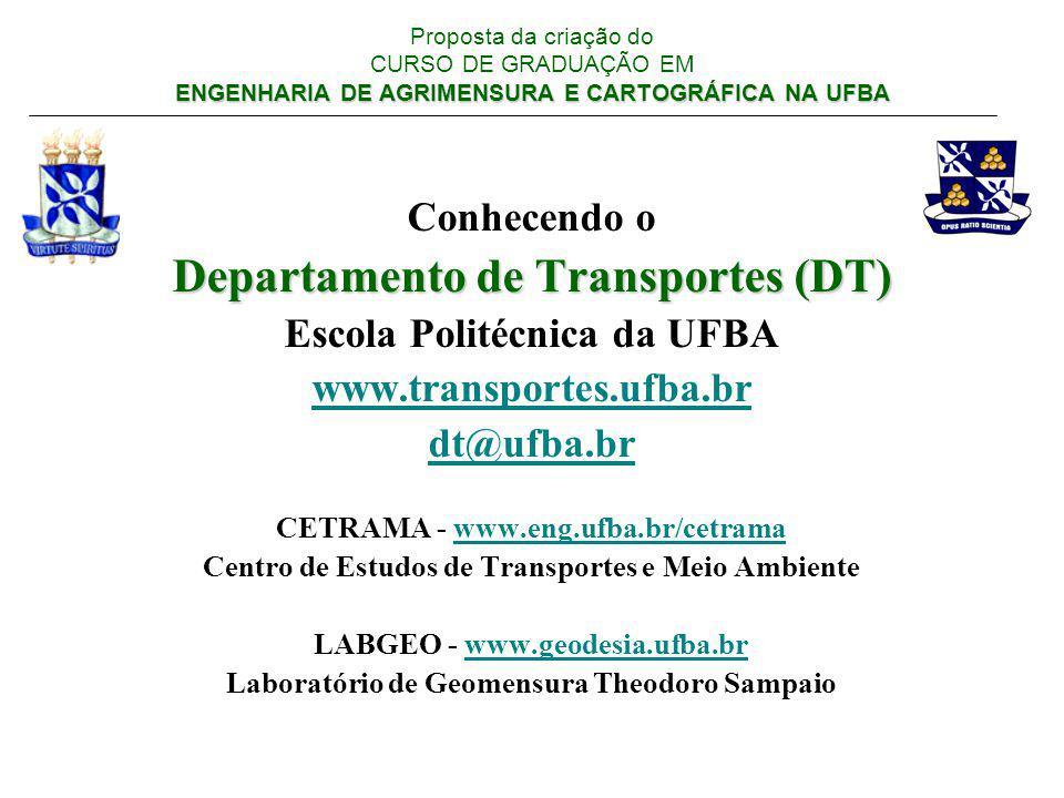 ENGENHARIA DE AGRIMENSURA E CARTOGRÁFICA NA UFBA Proposta da criação do CURSO DE GRADUAÇÃO EM ENGENHARIA DE AGRIMENSURA E CARTOGRÁFICA NA UFBA Infra-estrutura material: Laboratórios: Relação de equipamentos Biblioteca: Relação de títulos