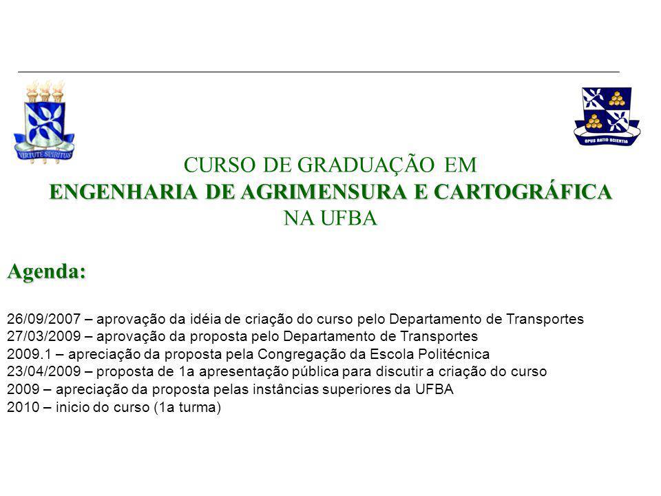 ENGENHARIA DE AGRIMENSURA E CARTOGRÁFICA CURSO DE GRADUAÇÃO EM ENGENHARIA DE AGRIMENSURA E CARTOGRÁFICA NA UFBAAgenda: 26/09/2007 – aprovação da idéia