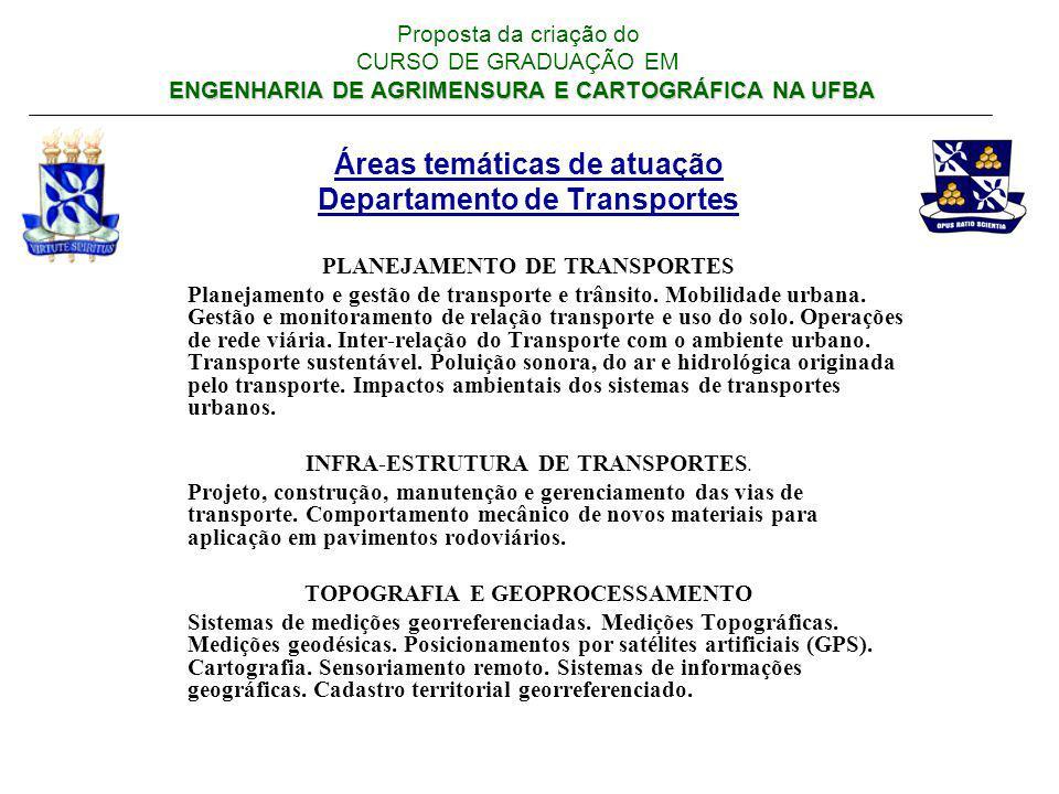Áreas temáticas de atuação Departamento de Transportes PLANEJAMENTO DE TRANSPORTES Planejamento e gestão de transporte e trânsito. Mobilidade urbana.