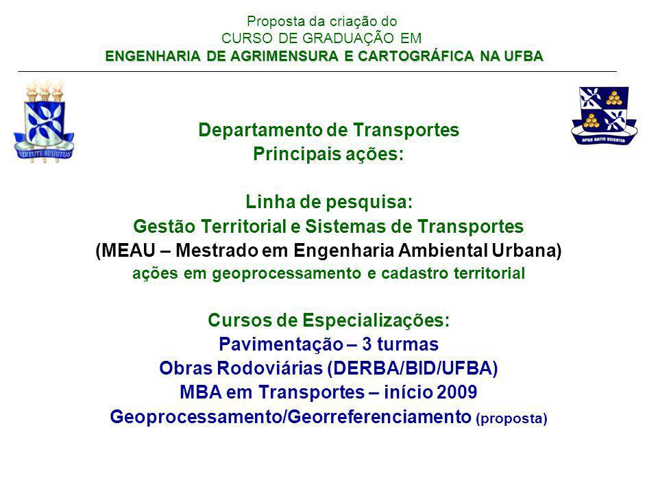 ENGENHARIA DE AGRIMENSURA E CARTOGRÁFICA NA UFBA Proposta da criação do CURSO DE GRADUAÇÃO EM ENGENHARIA DE AGRIMENSURA E CARTOGRÁFICA NA UFBA Aspectos relevantes que justificam a necessidade do curso: baseada nos pressupostos da formação do profissional da FIG e considerando as especificidades nacionais e do Nordeste brasileiro em particular.