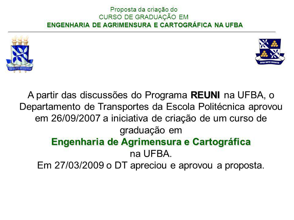 ENGENHARIA DE AGRIMENSURA E CARTOGRÁFICA NA UFBA Proposta da criação do CURSO DE GRADUAÇÃO EM ENGENHARIA DE AGRIMENSURA E CARTOGRÁFICA NA UFBA Engenharia de Agrimensura (10 cursos) e Engenharia Cartográfica (6 cursos) no Brasil: Araraquara-SP: Engenharia de Agrimensura Belo Horizonte-MG / FEAMIG: Engenharia de Agrimensura Campo Grande-MS: Engenharia de Agrimensura Criciúma-SC: Engenharia de Agrimensura Curitiba-PR / UFPR: Engenharia Cartográfica Maceió-AL / UFAL: Engenharia de Agrimensura Pirassununga-SP: Engenharia de Agrimensura Porto Alegre-RS / UFRGS: Engenharia Cartográfica Presidente Prudente-SP / UNESP: Engenharia Cartográfica Recife-PE / UFPE: Engenharia Cartográfica Rio de Janeiro-RJ / UFRRJ: Engenharia de Agrimensura Rio de Janeiro-RJ / UERJ: Engenharia Cartográfica Rio de Janeiro-RJ / IME: Engenharia Cartográfica Salvador-BA / EEEMBA - Engenharia de Agrimensura Teresina-PI / UFPI: Engenharia de Agrimensura Viçosa-MG / UFV: Engenharia de Agrimensura e Cartográfica Novas propostas em discussão: Florianópolis-SC - UFSC – Engenharia de Agrimensura e Cartográfica Belo Horizonte-MG – UFMG – Engenharia Cartográfica Recife-PE – UFPE: turma noturna – Engenharia Cartográfica Viçosa-MG / UFV: mudança de nome p/ Engenharia de Agrimensura e Cartográfica (dez/2008) Rio de Janeiro-RJ / UFRRJ: mudança de nome p/ Engenharia de Agrimensura e Cartográfica