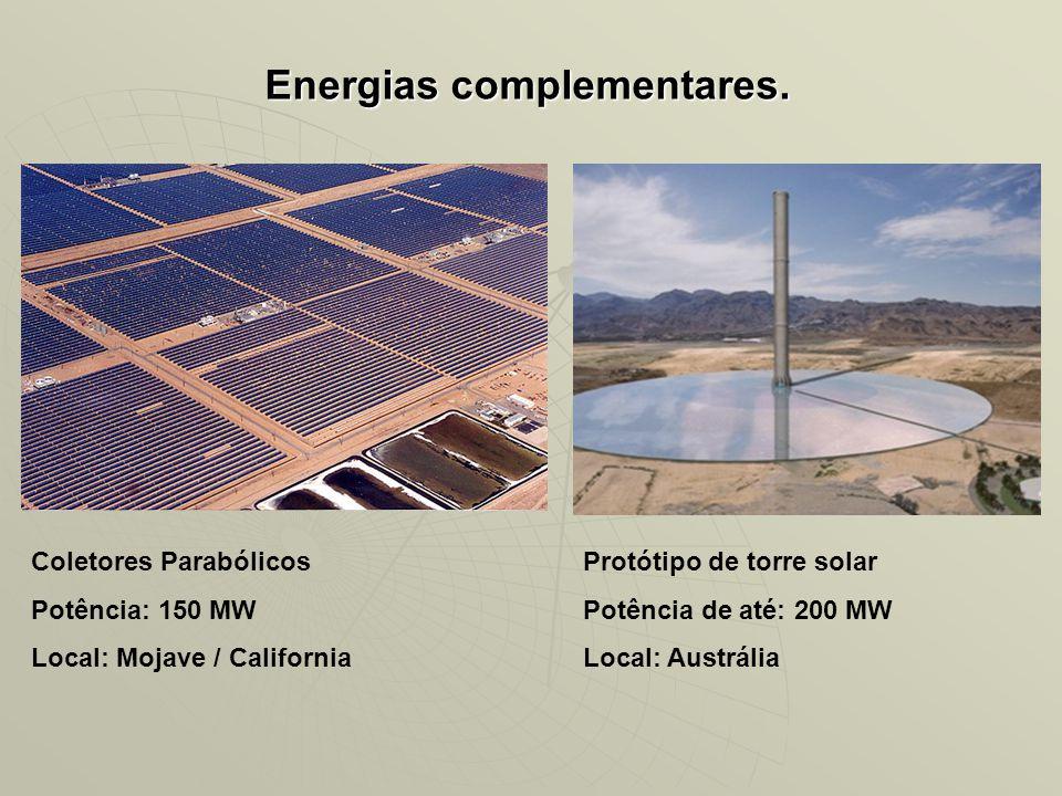 Energias complementares. Coletores Parabólicos Potência: 150 MW Local: Mojave / California Protótipo de torre solar Potência de até: 200 MW Local: Aus